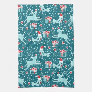 Christmas reindeer bird patterned kitchen towel