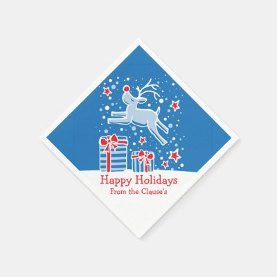 Christmas reindeer blue red white paper napkins