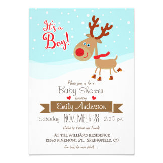 Christmas Reindeer, Boy Baby Shower Invitation