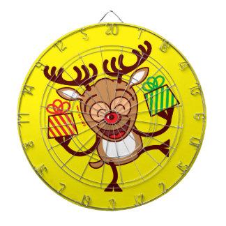 Christmas Reindeer bringing gifts Dartboard With Darts