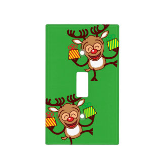 Christmas Reindeer bringing gifts Light Switch Cover