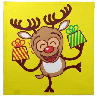 Christmas Reindeer bringing gifts Printed Napkins