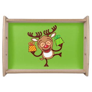 Christmas Reindeer bringing gifts Serving Platters