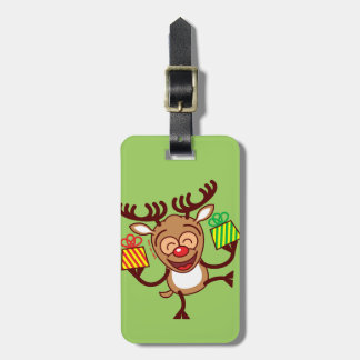 Christmas Reindeer bringing gifts Tags For Luggage