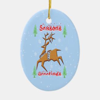 Christmas Reindeer Christmas Ornament Oval