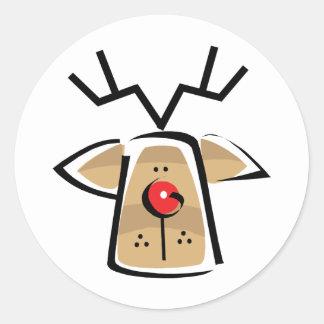 Christmas Reindeer Classic Round Sticker