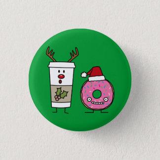Christmas Reindeer Coffee and Santa Donut Button