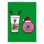 Christmas Reindeer Coffee and Santa Donut Greeting Cards