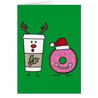 Christmas Reindeer Coffee and Santa Donut Greeting Card