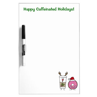 Christmas Reindeer Coffee and Santa Donut Dry-Erase Board