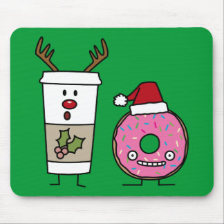 Christmas Reindeer Coffee and Santa Donut Mouse Pad