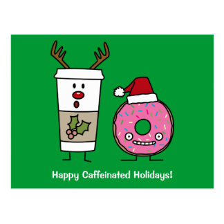 Christmas Reindeer Coffee and Santa Donut Postcard