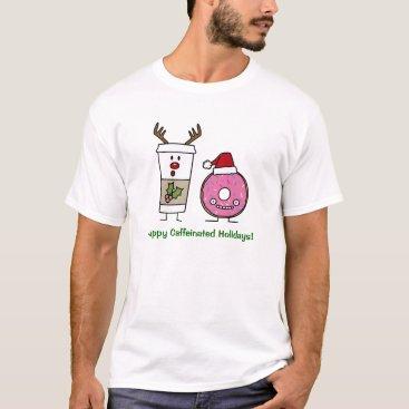 Coffee Themed Christmas Reindeer Coffee and Santa Donut T-Shirt