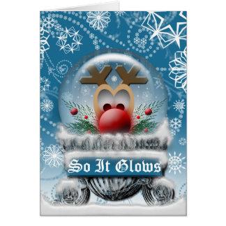 Christmas Reindeer Cute Snowglobe Blank Inside Card