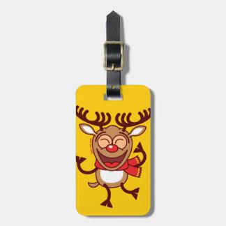 Christmas Reindeer dancing animatedly Tag For Luggage