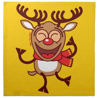 Christmas Reindeer dancing animatedly Cloth Napkins