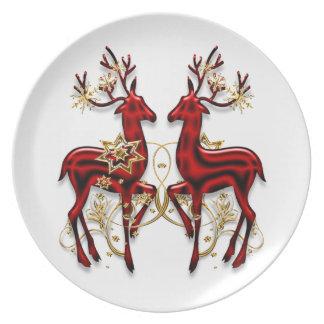 Christmas reindeer elegant red gold plate