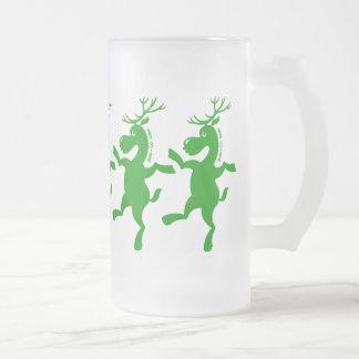 Christmas Reindeer Exercising Frosted Glass Beer Mug