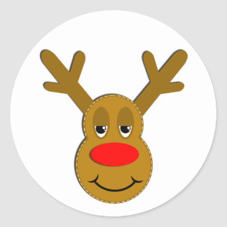 Christmas Reindeer Face Classic Round Sticker