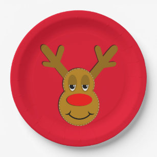 Christmas Reindeer Face Red Paper Plate  sc 1 st  Zazzle & Red Nosed Reindeer Plates   Zazzle
