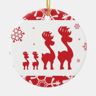 Christmas Reindeer Family Ceramic Ornament