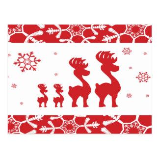 Christmas Reindeer Family Postcard