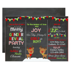 Christmas Reindeer Gender Reveal Invitation