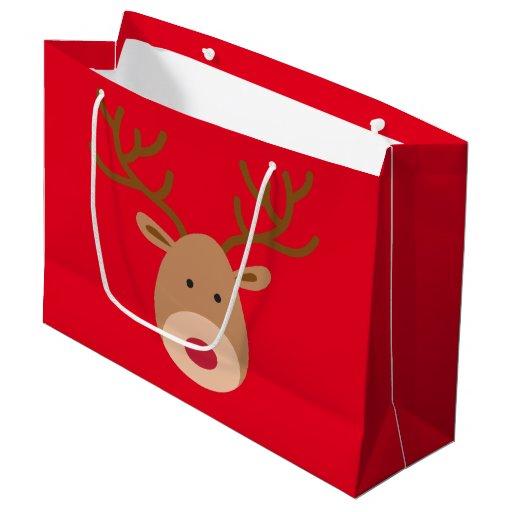 Christmas Reindeer Glossy Gift Bag Large Gift Bag