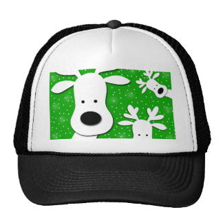 Christmas reindeer - green 2 trucker hat