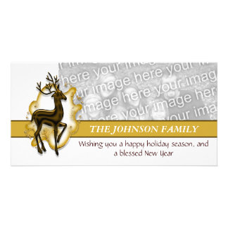 Christmas reindeer greeting gold PERSONALIZE Card