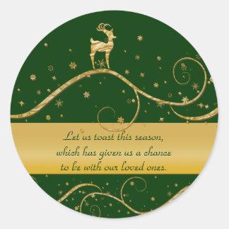 Christmas reindeer greetings classic round sticker