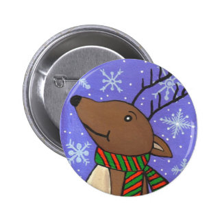 Christmas Reindeer - holiday button
