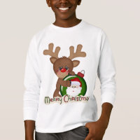 Christmas Reindeer Holiday cartoon kids t-shirt