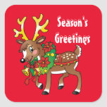 "Christmas Reindeer Holiday cartoon sticker<br><div class=""desc"">design by Prints Of Joy at www.digiwebstudio.com</div>"