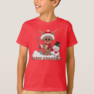 Christmas reindeer Holiday kids t-shirt