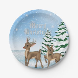 Christmas Reindeer Holiday paper plate 7 Inch Paper Plate
