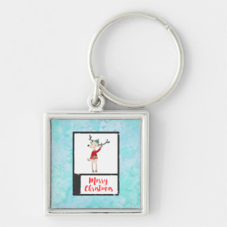 Christmas Reindeer In An Ugly Sweater Whimsical Keychain