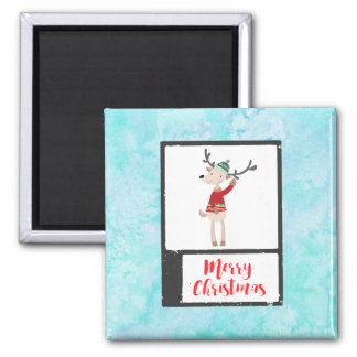 Christmas Reindeer In An Ugly Sweater Whimsical Magnet