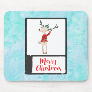 Christmas Reindeer In An Ugly Sweater Whimsical Mouse Pad