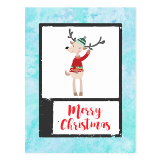 Christmas Reindeer In An Ugly Sweater Whimsical Postcard