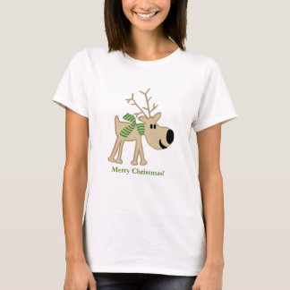 Christmas Reindeer in Green Scarf T-Shirt