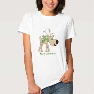 Christmas Reindeer in Green Scarf T-shirts