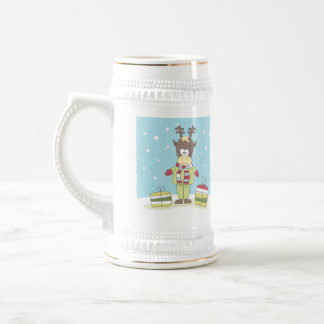 Christmas Reindeer in the Snow with Gifts Beer Stein