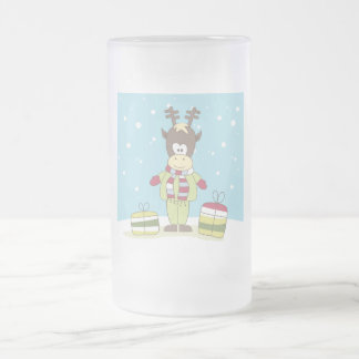 Christmas Reindeer in the Snow with Gifts Frosted Glass Beer Mug