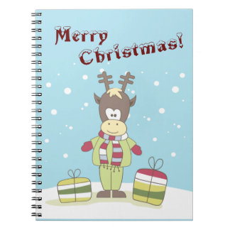 Christmas Reindeer in the Snow with Gifts Notebook