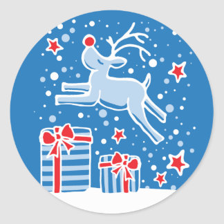 Christmas reindeer jumping over gifts sticker