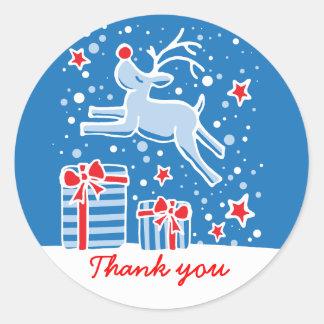 Christmas reindeer jumping thank you sticker