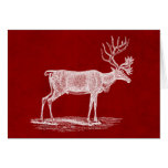 Christmas Reindeer on Red Crimson Parchment Color Cards