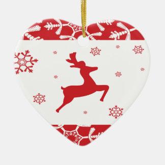 Christmas Reindeer Double-Sided Heart Ceramic Christmas Ornament