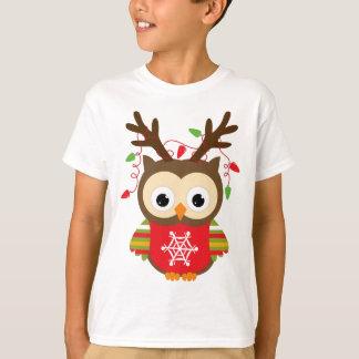Christmas Reindeer Owl T-Shirt
